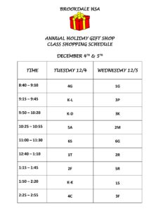 Holiday Gift Shop Class Schedule Brookdale School In Bloomfield